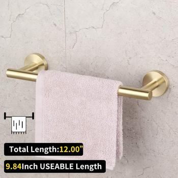 Bathroom Brushed Gold 3-Piece Accessories Set SUS304 Stainless Steel Bath Accessories set (paper holder  towel ring robe hook) 3