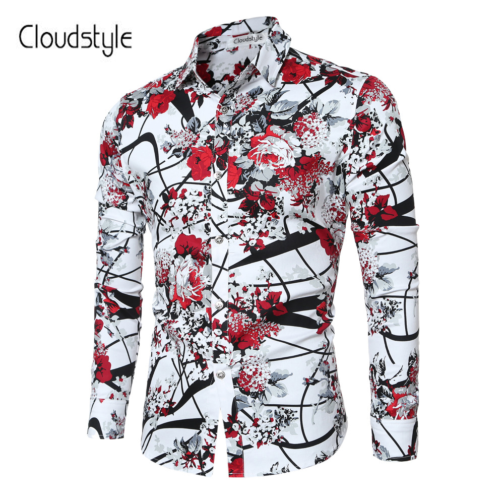 Cloudstyle 2018 Brand New Men Shirts Casual Flora Long Sleeve Business Formal Shirt High Quality Slim Fit Men Imported-Clothing