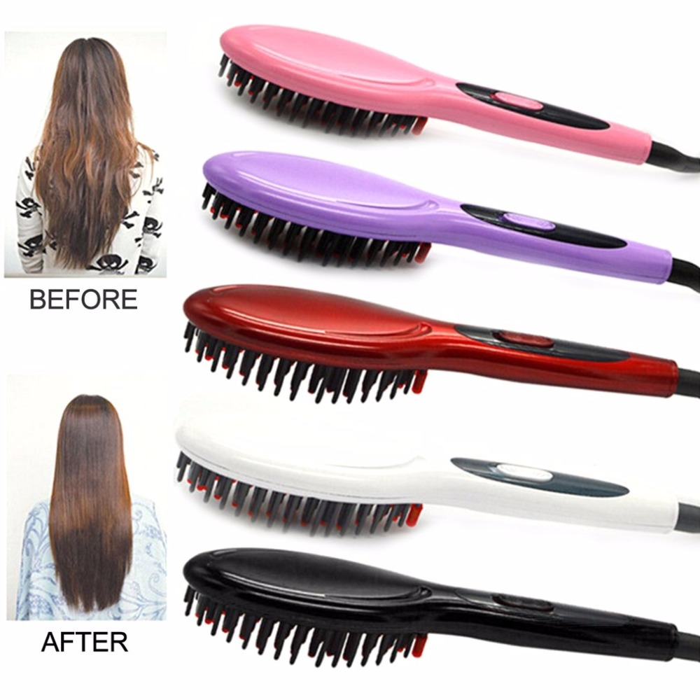 f13573b9b82 EU Plug Ceramic Electric Hair Straightening Brush Girls Ladies Hair  Straightener Comb Hair Care Brush Styling Tool Hot