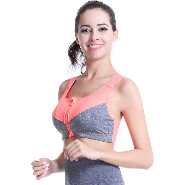 Best Quality Zipper Sports Bra Women Push Up Crop Top Seamless ...