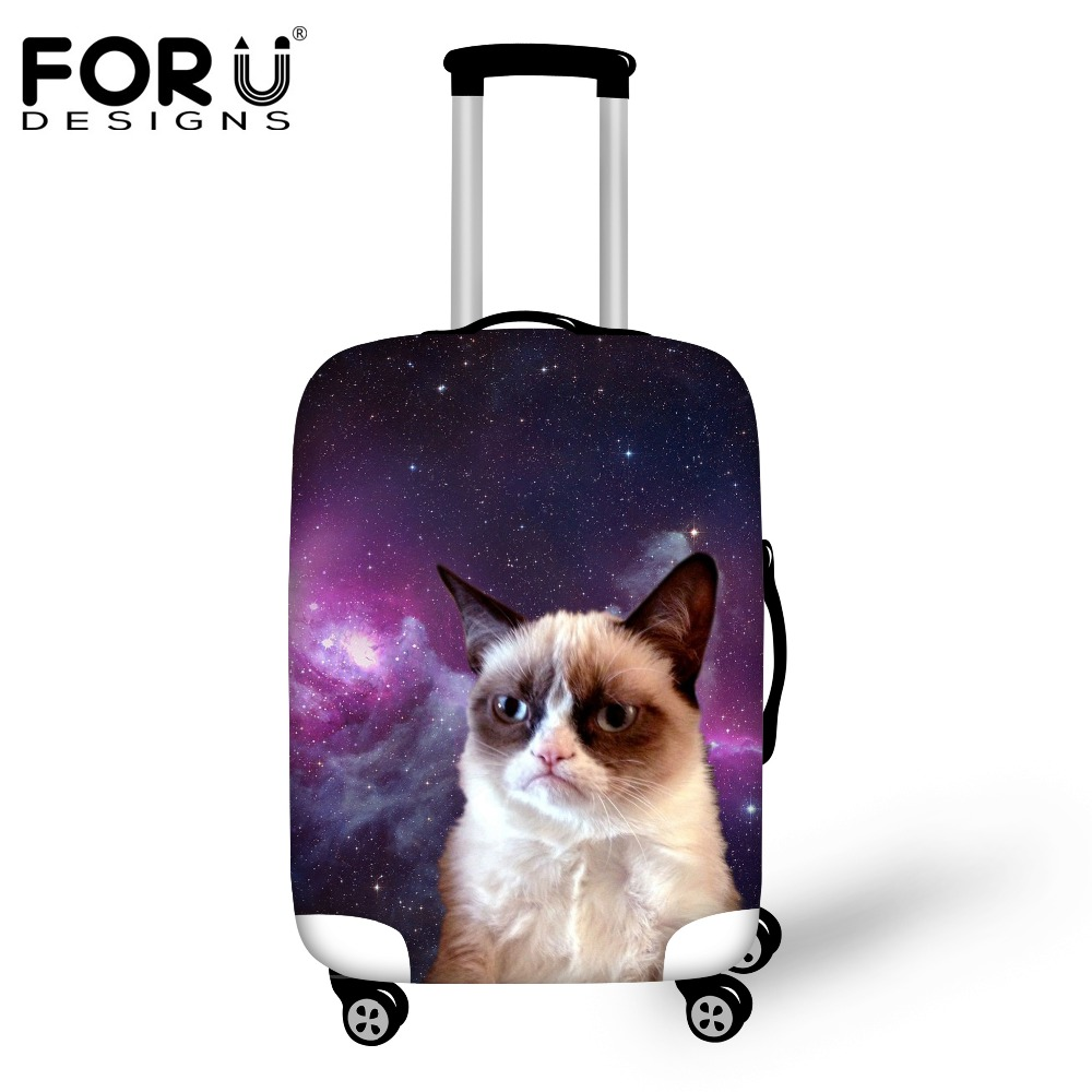 FORUDESIGNS Cat Galaxy Travel Luggage Cover Apply For 18-30inch Suitcase Elastic Waterproof Luggage Protective Dust Rain Cover