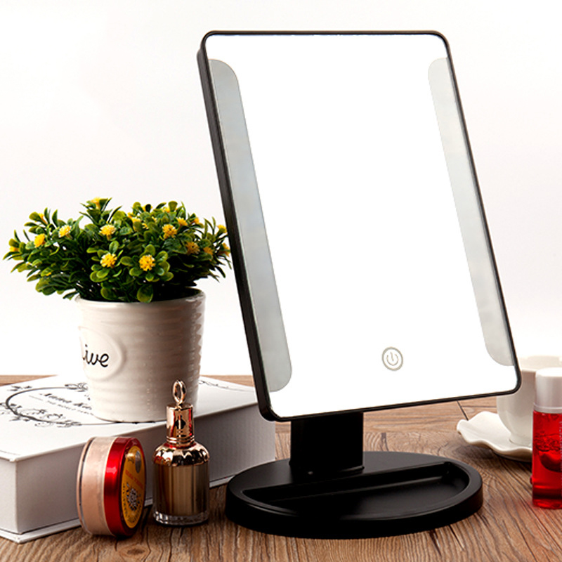 CN-RUBR New Arrival Adjustable Vanity Tabletop Lamp 38 LED Lights with USB Makeup Mirror Portable Luminous 180 Rotating Mirrors