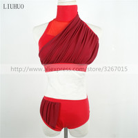 The New Women's Pole Dancing Costume Red high elastic fabric gauze Sexy