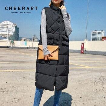 цена CHEERART Long Vest Winter Coat Women Sleeveless Down Jacket Slim Female Quilted Coat Femme Korean Waistcoat Colete онлайн в 2017 году
