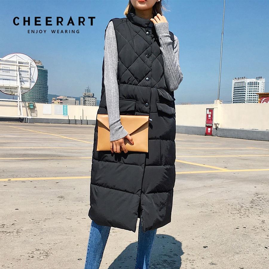CHEERART Longo Colete Mulheres Casaco de Inverno Sem Mangas Para Baixo Casaco Fino Casaco Acolchoado Feminino Femme Colete Coreano Colete