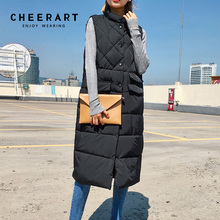 Cheerart 2017 Long Vest Winter Coat Women Sleeveless Down Jacket Slim Female Quilted Coat Femme Korean Waistcoat Colete