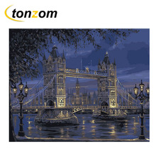 RIHE Night Bridge Diy Painting By Numbers London River Oil Cuadros Decoracion Acrylic Paint On Canvas Modern Wall Art