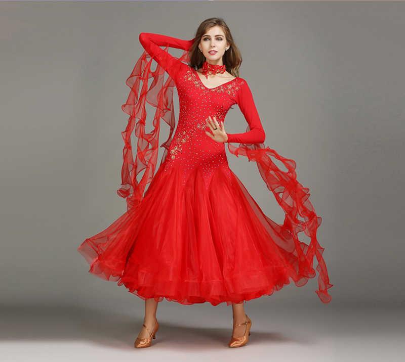 909f493cefea ... Standard Ballroom Dresses Women Long Sleeve Lycra Stretchy Ballroom Dancing  Costume Adult Waltz Ballroom Competition Dance