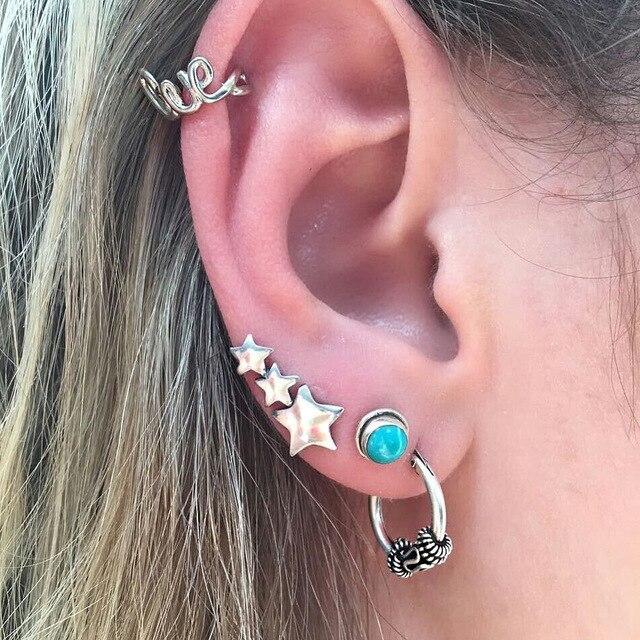 61fa0c587 JEAE 4Pcs /set Punk Style Silver Color Stars Wave Stud Earring Set for  Women Boho