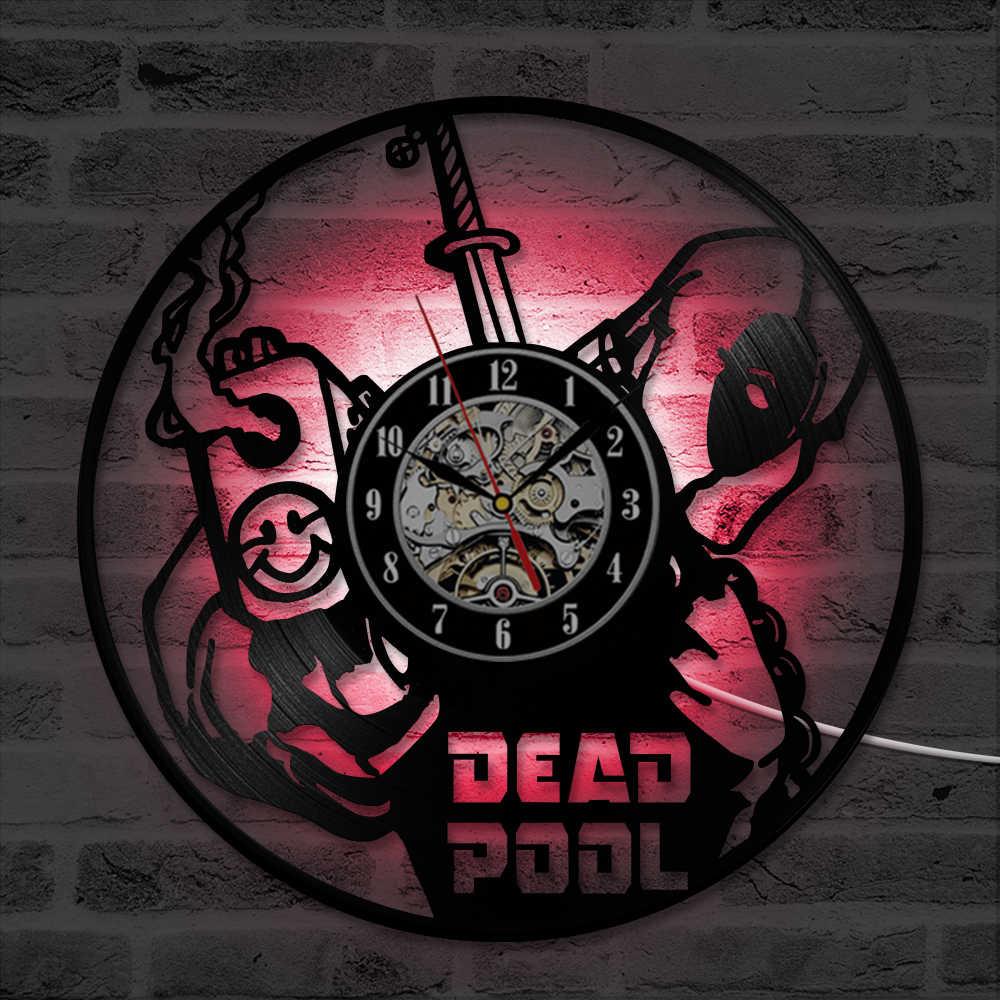 Quadrinhos da Marvel Deadpool Registro LEVOU Tempo Relógio de Parede Relógio De Vinil Feitos À Mão Home Decor Para Kid & Antique Criativo Relógio Oco