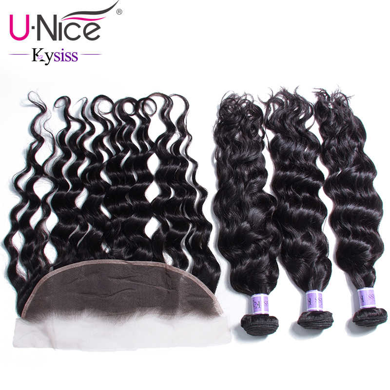 UNice Hair Kysiss Series 8A 3 Bundles Brazilian Natural Wave Pre Plucked Lace Frontal Closure With Bundles Virgin Human Hair