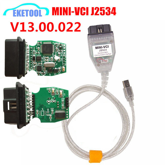 V13.00.022 FT232RL Green PCB MINI-VCI J2534 Interface OBD2 Vehicle Diagnosis MINI VCI For TOYOTA TIS Advanced Diagnosis