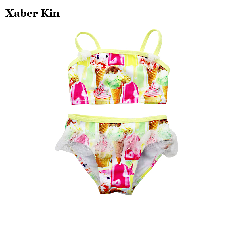 Girls Printed Ice Cream Swimsuit Girls Bikini Girls Swimming Bathing Suits Children Swimwear Beachwear Suits G6-K303
