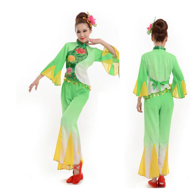 Women Ballroom Folk Dance Costume Fan Dance Costumes Chinese Ancient  Traditional Dress Chinese Yangko Stage Dancing d96b93096