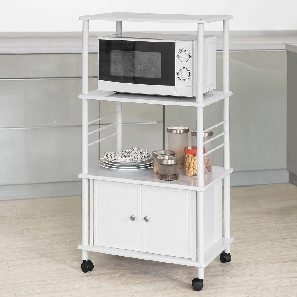 sobuy kitchen microwave shelf wheeled storage trolley kitchen cabinet 3 shelves 1 cabinet frg12