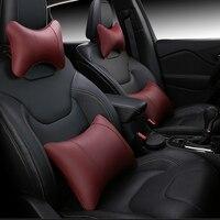 KKYSYELVA Car Seat Supports Auto Seat Back Lumbar Support leather Lumbar Back Pain Support Car Cushion Office Seat Chair Black