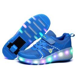 Eur28-40// Heelys Roller Sneakers with Wheels Children Lighting Shoes Boys Krasovki Luminous sneakers on wheels buty led