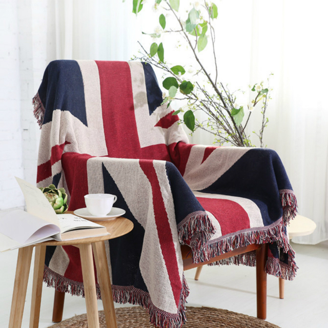 Cotton Retro British Flag Sofa Blanket Word Flow Sumi Decorative On Bed Pad Variety Function