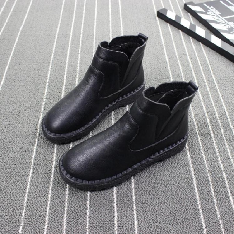 2018 new autumn and winter elastic booties women's shoes soft-soled soft plus velvet boots British Martin boots 2017 autumn and winter new plus velvet thick women s boots soft bottom comfortable breathable mother shoes wild leather