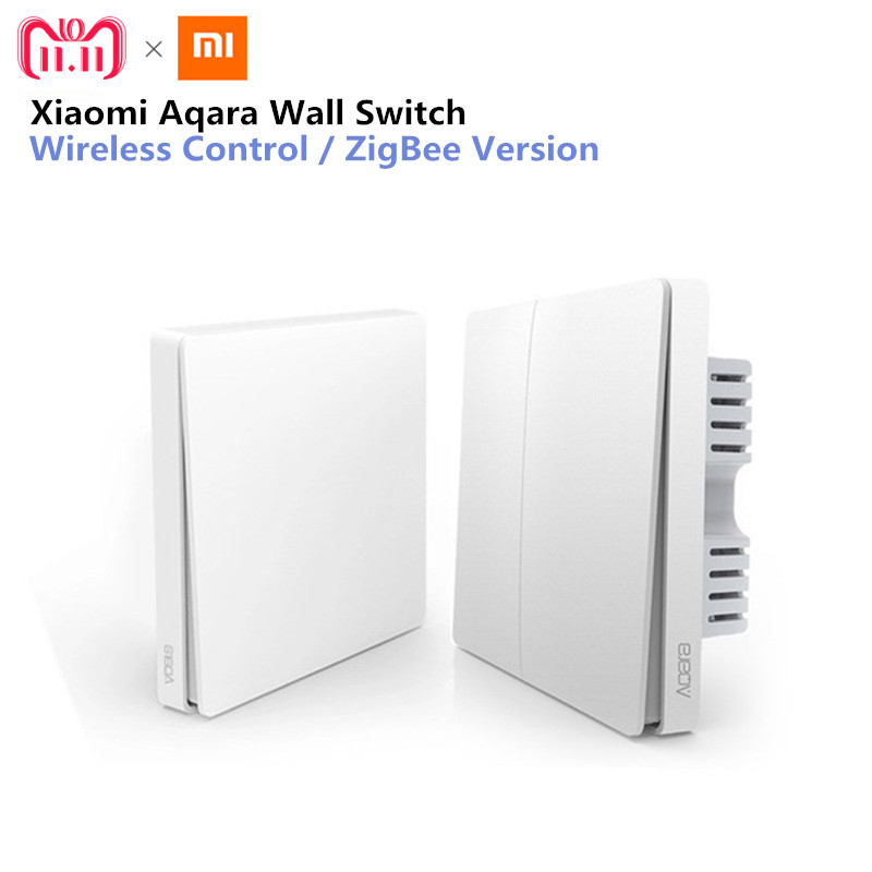 Xiaomi Aqara Wall Switch Smart Light Control ZigBee Version Wireless Connection Single Key Control APP Remote smart home Kit 2018 xiaomi ecological chain brand wima electro mechanical anti theft smart cylinder zigbee version mihome app control 5pcs keys