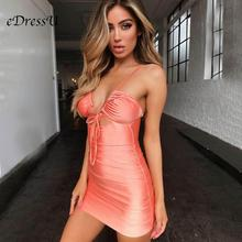 Hot New Pleated Bandage Party Dress Orange V Cut Straps Sheath Column Evening Club Nightclub Short Mini eDressU MS-DZT574