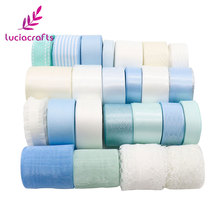 New arrivals 25yards Pink/Blue Series Grosgrain/Satin/Organza Ribbons Lace set DIY Wedding Party Gift Packing Material 040007126