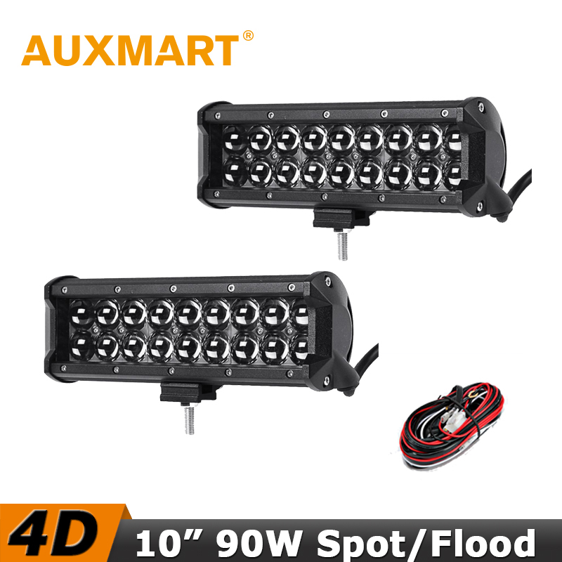Auxmart 4D LED Light Bar 10 90W Spot Flood Beam fog LED Work Light Bar DC 12V 24V Offroad 4x4 4WD Truck SUV ATV Driving Lamp стоимость