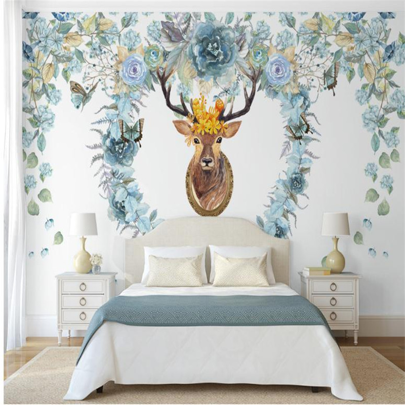 custom modern 3d HD photo wallpaper living room bedroom  TV background wall mural large pastoral style flower elk wallpaper 3d mural wallpaper 3d stereoscopic living room tv backdrop bedroom 3d photo wallpaper european style custom
