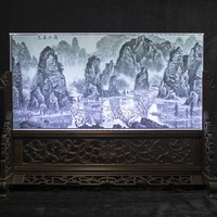 Chinese Style Crystal 3D Laser Engraved Picture Frames Landscape Painting Glass Feng Shui Photo Album For home decoration