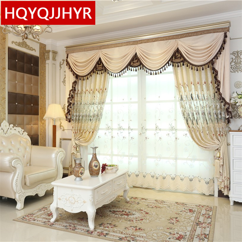 Beige European Luxury Embroidered Curtains For Living Room