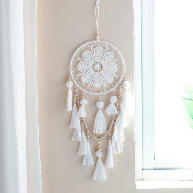 1Pcs Handmade Dream Catcher Indian Style Woven Wall Hanging Decoration White Dreamcatcher Wedding Party Hanging Decor
