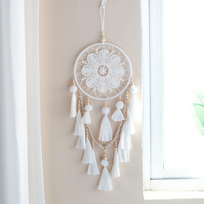 1 Stücke Handmade Dream Catcher Indischen Stil Woven Wand Hängende Dekoration Weiß Dreamcatcher Hochzeit Hängen Dekor