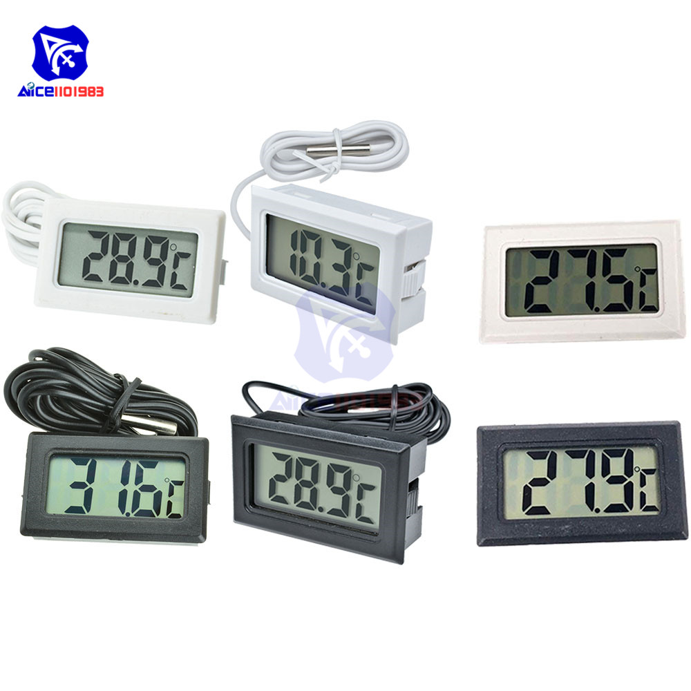 HALJIA Digital Compact LCD Monitor Thermometer with Outdoors Remote Sensor with 1M Temperature Probe