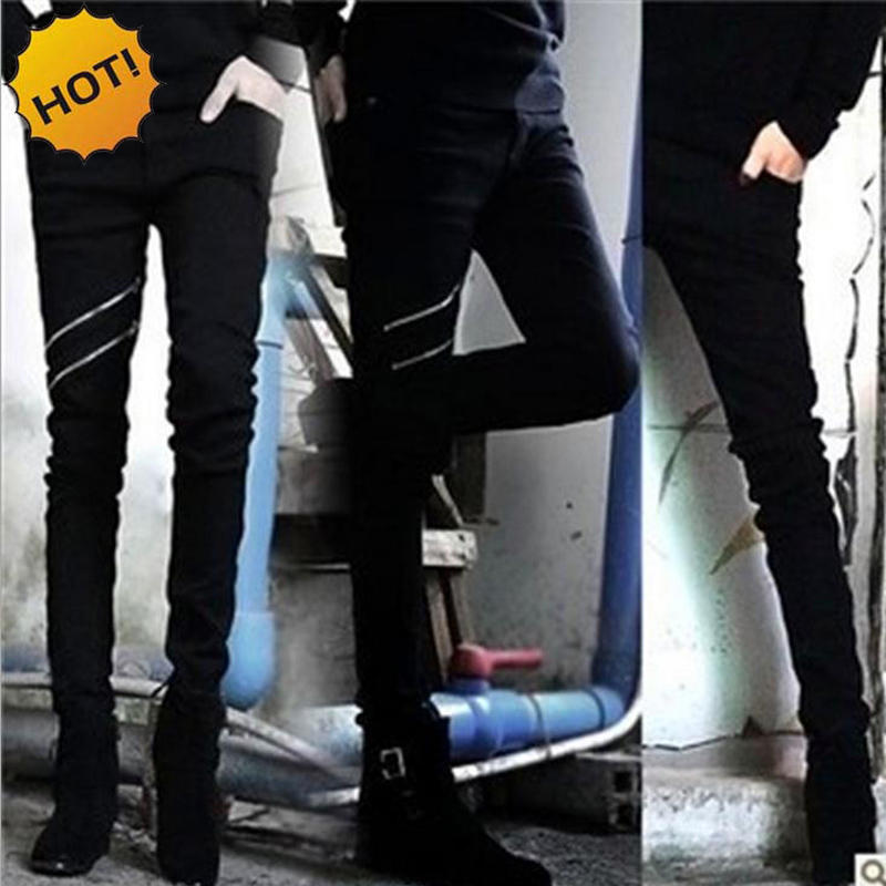 Wholesale Fashion Teenagers Nightclub stylist costumes Slim Black Jeans Double zipper Design Casual Pants Men Bottoms