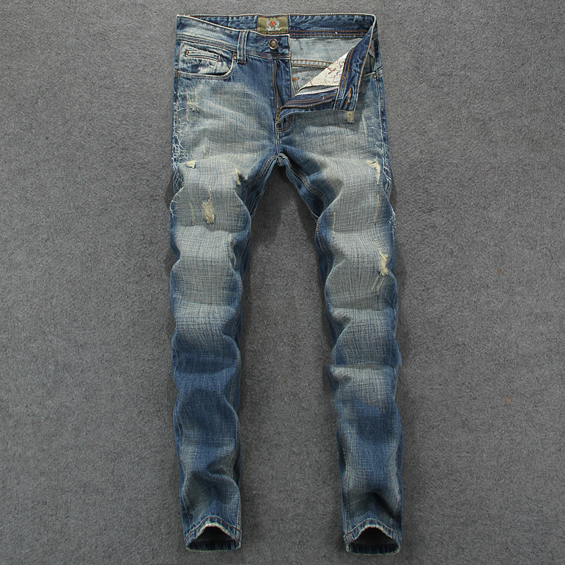 RL629 Men`s Blue Jeans Slim Fit Denim Ripped Pants Uomo High Quality Designer Brand Clothing Moto Biker Jeans With Logo Men classic mid stripe men s buttons jeans ripped slim fit denim pants male high quality vintage brand clothing moto jeans men rl617