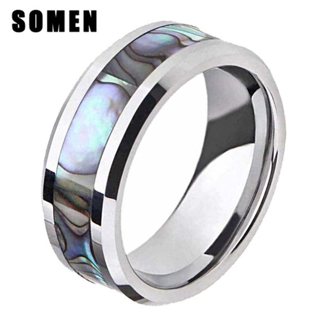 Brand Luxury 8mm Men Wedding Band Anium Abalone Shell Inlay Engagement Rings For Women Female Fashion