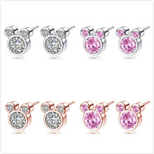 f76eb36a3 Paylor 4 Style Mickey Shaped Silver Color Stud Earring For Women Girl  Sparkling CZ Zircon Pandora Earring Fashion Jewelry