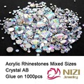 Diamantes de imitación de Cristal AB 1000 unids Mix Colors Ronda Acrílico No Hotfix Rhinestones Flatback Nail Art Piedras De Strass Decoraciones