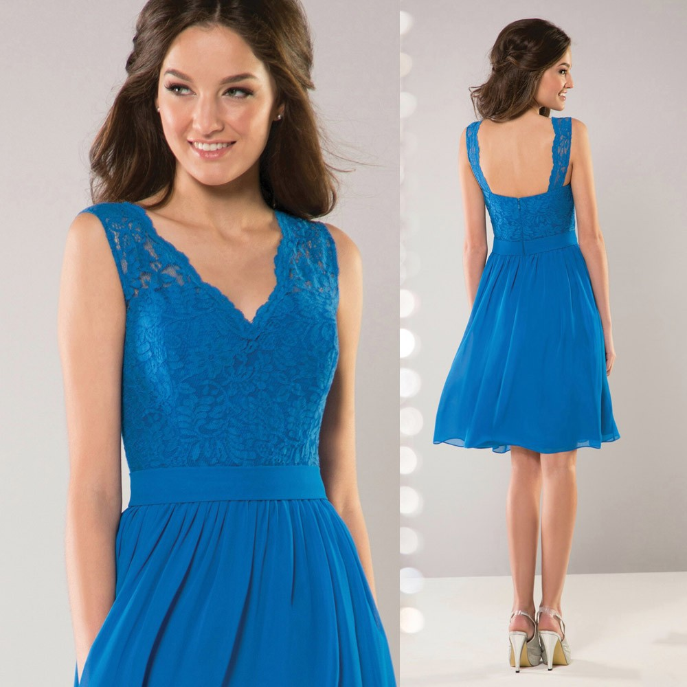 2015 Modest Blue Short Bridesmaid Dress V Neck Lace
