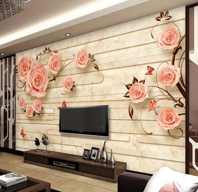 Custom papel DE parede 3 d,rose marble tile murals for the living room bedroom TV background wall waterproof wallpaper custom 3d wallpaper pink rose and butterfly mural for the living room bedroom tv background wall vinyl papel de parede