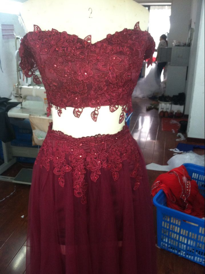 92e539e3e0 Two Piece Prom Dresses 2016 Deep burgundy prom dresses Tulle Off Shoulder  Vestidos De Festa Party Evening Gowns-in Prom Dresses from Weddings    Events on ...