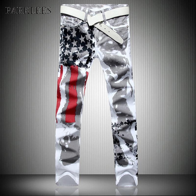 New White Jeans Men 2017 Fashion Hip Hop USA Flog Print Washed Cotton Jeans Casual Elastic Slim Skinny Mens Biker Jeans Pants 44