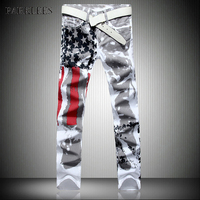 New White Jeans Men 2017 Fashion Hip Hop USA Flog Print Washed Cotton Jeans Casual Elastic