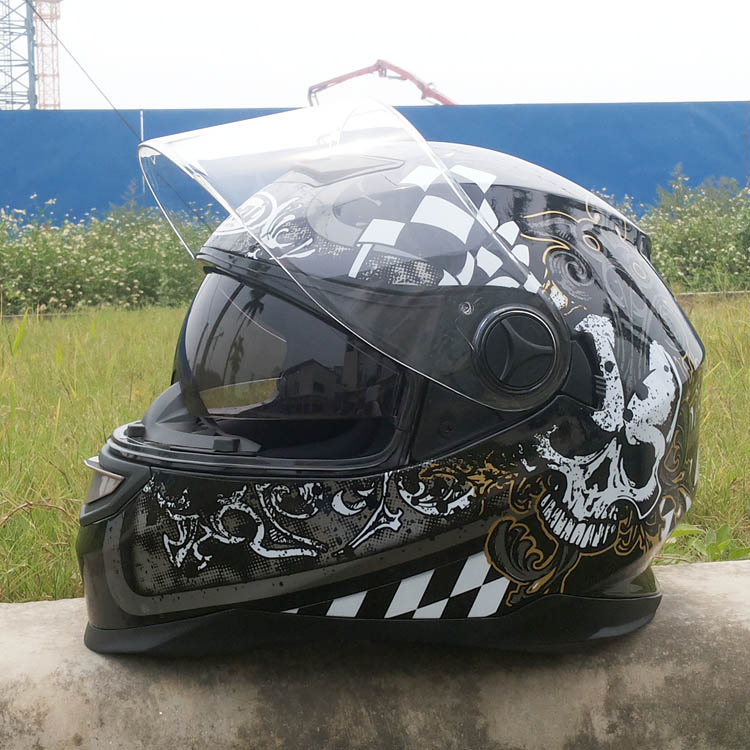 double lenses motorcycle helmet skull automobile race full face winter helmet with sunglasses Casco de la motocicleta