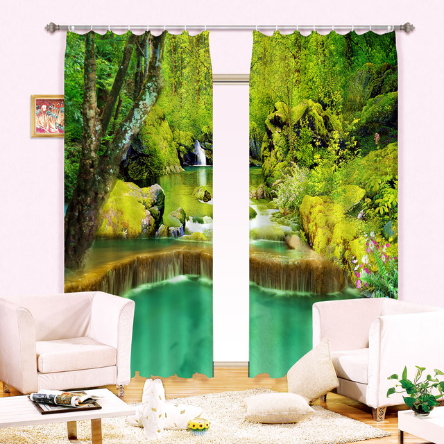 Jungle Waterfall Water Curtain Of 3 D Digital Three Dimensional 100% Black  Silk Curtains