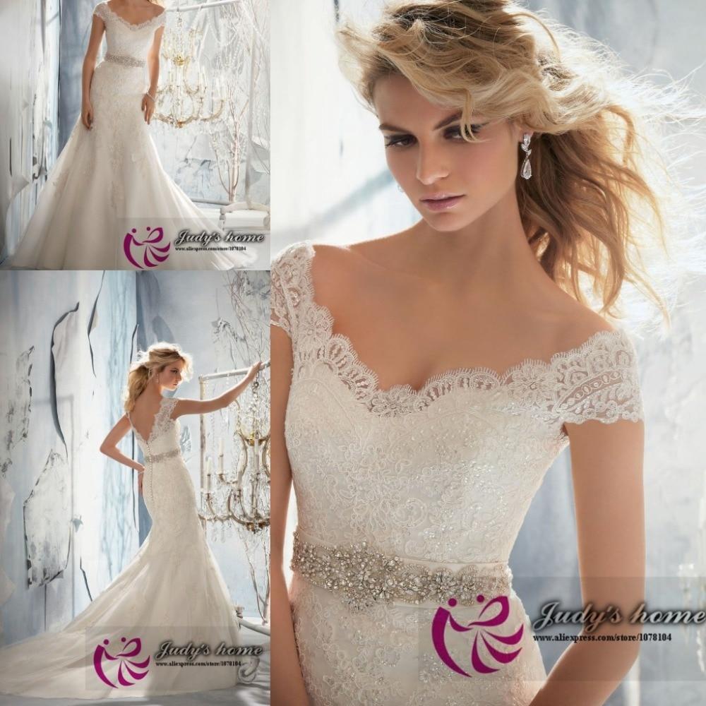 Exquisite Lace Appliqued Mermaid Wedding Dress Australia
