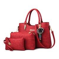 Amberler Luxury Women PU Leather Handbags Large Capacity Ladies Tote Shoulder Bags Designer 3 Pieces Set Crossbody Bags Female