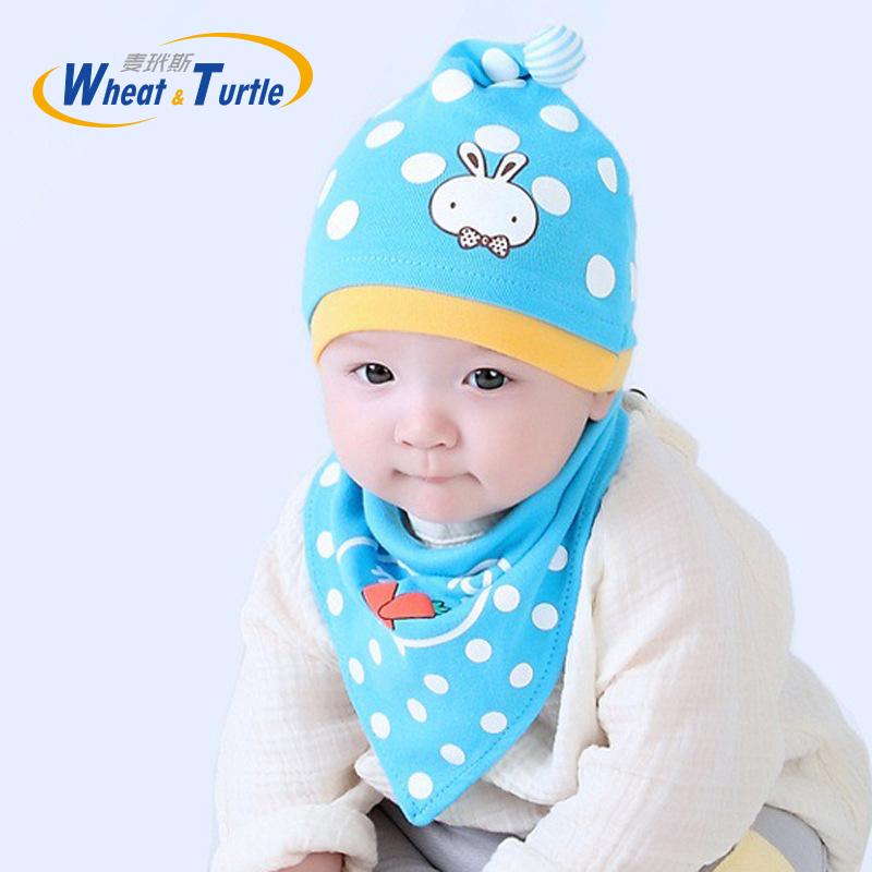 Mother Kids Baby Clothing Accessories Hats Caps Bonnet Skully Unisex White Dot Cotton Beanies And Bibs Burp Cloths For Baby Kids