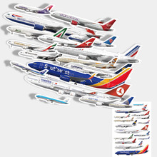 16pcs Airplane stickers  suitcase stickers cool skateboard wall refrigerator stickers 1000 cool stickers
