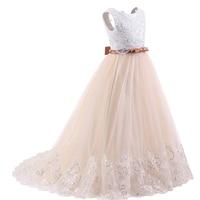 Girls dress Party Children's Wedding Dresses Girls Lace Flower Dress Puffy Mesh Dress Long Bow Sleeveless Girls Clothes
